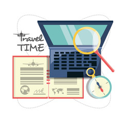 laptop with passport and magnifying glass and compass