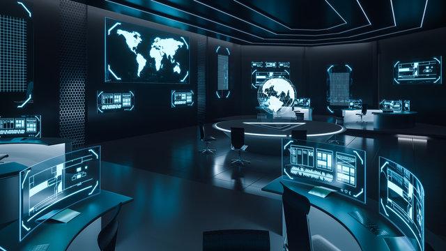Command center interior, cybersecurity
