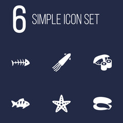 Set Of 6 Food Icons Set.Collection Of Remains, Shell, Calamary And Other Elements.