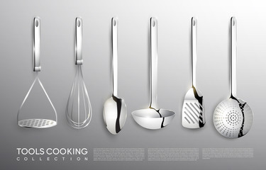 Realistic Kitchen Silver Cooking Tools Set