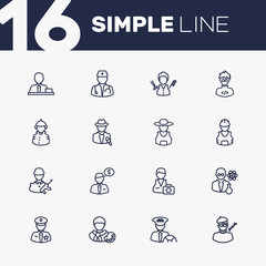 Set Of 16 Job Outline Icons Set.Collection Of Banker, Soldier, Manager And Other Elements.
