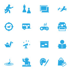 Set Of 16 Hobbie Icons Set.Collection Of Flying, Drawing, Joystick And Other Elements.