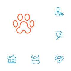 Set Of 6 Animals Outline Icons Set.Collection Of Parrot, Vet, Pile Of Poo And Other Elements.