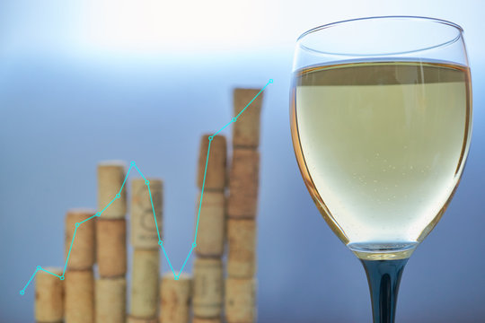 graph chart of wine sales made from corks