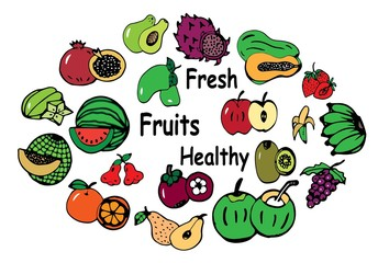Hand drawn group of fresh fruit doodle vector set