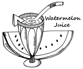 Hand drawn watermelon juice in a glass