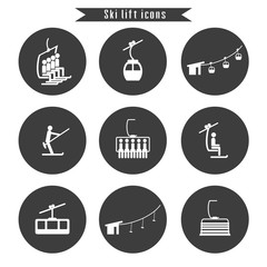 Set of ski cable lift icons for ski and winter sports.