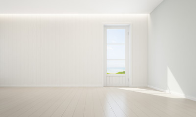 Sea view empty room with wooden floor and white wall background in luxury beach house, Modern interior of new home - 3D rendering