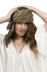Woman wearing winter hat