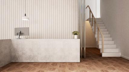 reception in lobby design interior for artwork - 3D Rendering