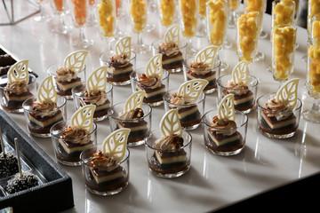 Sweet Dessert mini cake tiramisu celebration event wedding catering table