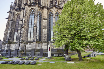 ancient gravesites marked by horizontal headstones at the foot of Cologne Cathedral