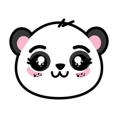 cute panda bear face icon vector illustration graphic design