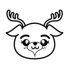 isolated cute deer face