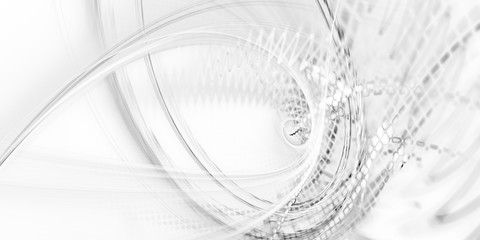 Abstract background element. Fractal graphics. Dynamic composition of curves, blurs and halftone effect. White texture.