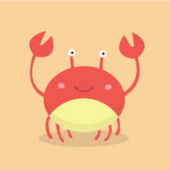 Vector illustration of cute flat crab.