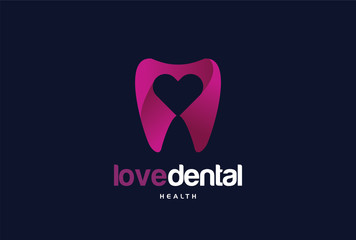 Love Dental Logo Template Design Vector, Emblem, Design Concept, Creative Symbol, Icon