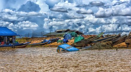 LAKE TONLE SAP, COMBODIA - : Chong Knies Village, Tonle Sap Lake, the largest freshwater lake in Southeast Asia