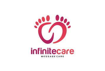 Infinite Foot Care Logo Template Design Vector, Emblem, Design Concept, Creative Symbol, Icon