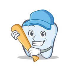 Baseball tooth character cartoon style