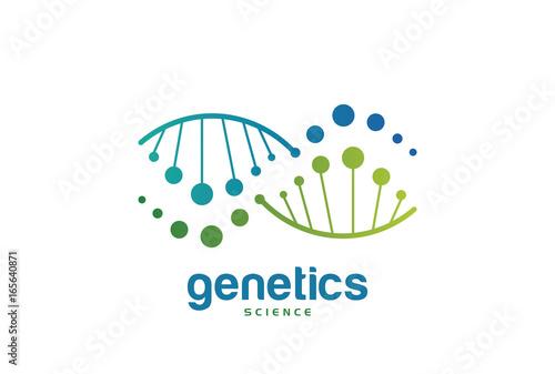 genetics dna biology logo template design vector emblem design
