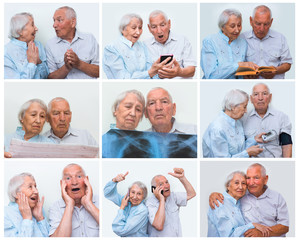 Senior couple at home using smartphones