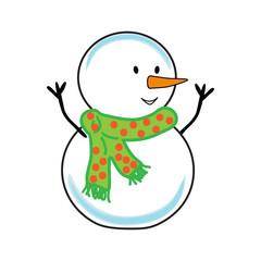 Fat cheerful snowman. Christmas.