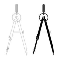 Compass. Technical drawing tool. Outline and black silhouette