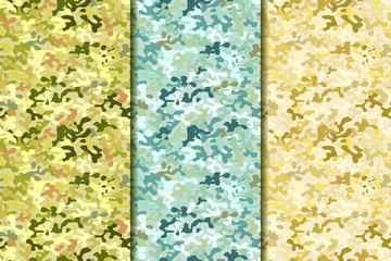 Military camouflage set. Green, blue and sand colors. Seamless pattern