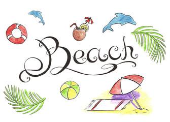Beach watercolor illustration