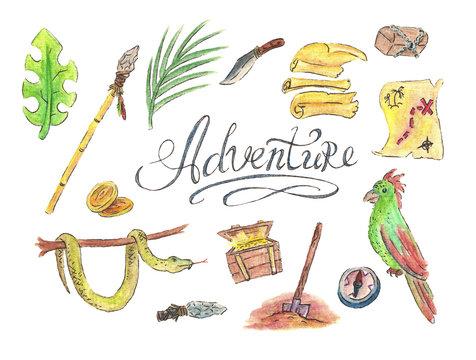Adventure lettering watercolor illustration set