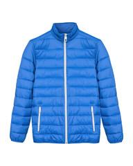 Blue men sport ski winter down jacket isolated white