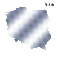 Vector abstract hatched map of Poland with oblique lines isolated on a white background.