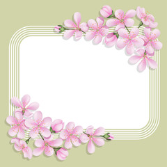 Card with floral print with a rectangular space for text. Delicate flowers and buds cherry. Template for greetings or invitations.