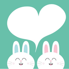 White bunny rabbit with long ears. Heart frame template. Cute cartoon smiling character twins. Baby greeting card. Happy Easter sign symbol. Green background. Flat design.