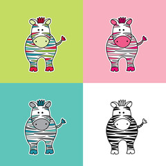 Cute and fun zebra vector illustration with colored stripes in various colors.
