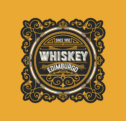 Whiskey label. Vector layered