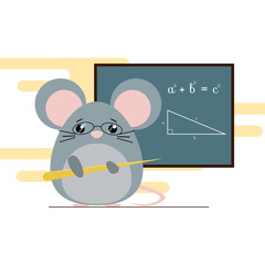 Vector illustration of mouse - teacher standing with board and teaching of geometry theorem. Cute flat design