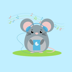Vector illustration of mouse listens to music. Cute flat design