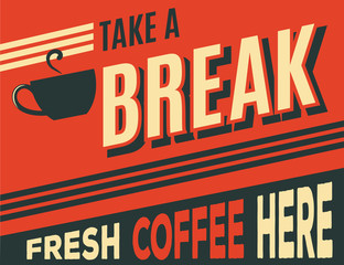 advertising coffee retro poster