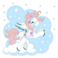Cute unicorn on a beautiful background. Vector illustration.