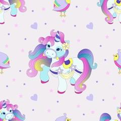 Seamless pattern with cute unicorn. Beautiful background. Vector illustration.