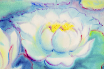 Painting  white color of lotus flower and green leaves
