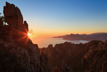 Fotomurales - Cliffs of the famous Calanche and the Golf of Porto at the island of Corsica, France, during sunset.