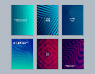 Set of cover design with background of geometric lines. Modern design