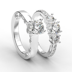 3D illustration two white gold or silver rings with diamonds