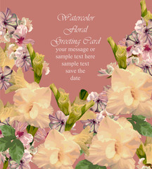 Summer flowers blossom card frame. Spring Season delicate watercolor flowers Wedding Invitation. Place for text. Vector illustration