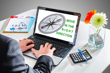 Right direction concept on a laptop screen