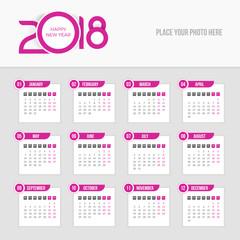 2018 Calendar - Week starts Monday