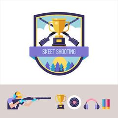 Shooting Skeet. Vector emblem. Set of design elements.